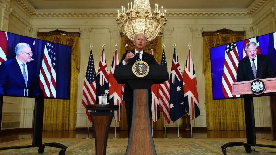 U.S. President Joe Biden Meets Virtually with U.K. Prime Minister Boris Johnson, and Australian Prime Minister Scott Morrison